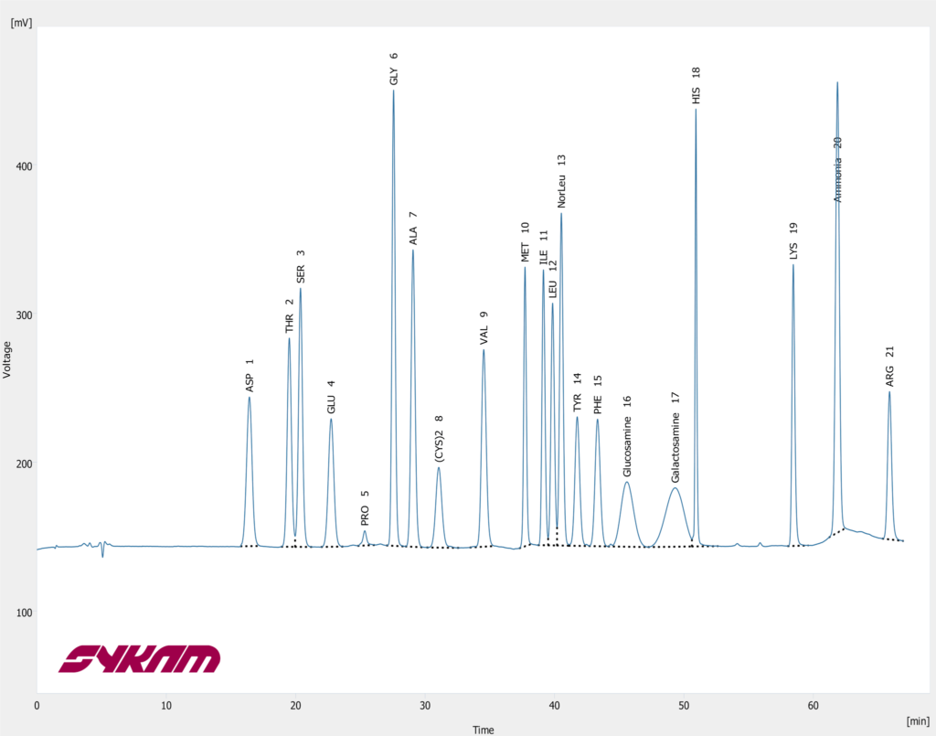 Sykam S 433 Chromatogram - Hydrolysate + Gluam + Galam Standard